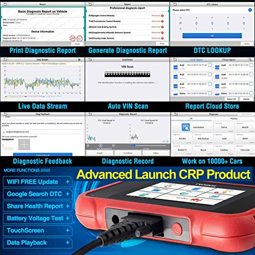 LAUNCH OBD2 Scanner CRP129X Scan Tool for ENG/ABS/SRS/Transmission Code Reader, Oil/EPB/SAS/TPMS Reset Throttle Matching Diagnostic Tool Android 7.0 Based AutoVIN WiFi Lifetime Free Update 2021 Ver.