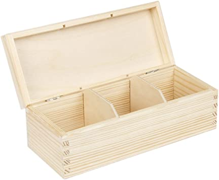 Caja para té (3 compartimentos 9,5 x 22,5 brillante caja de madera ...