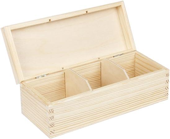 Caja para té (3 compartimentos 9,5 x 22,5 brillante caja de madera caja de madera para bolsas de té dispensador: Amazon.es: Hogar
