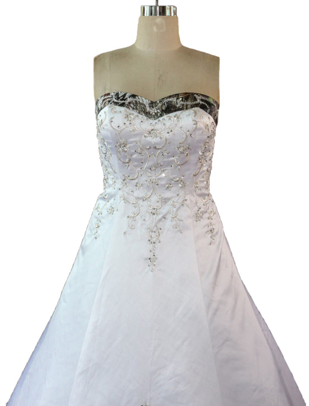 Zvocy White Satin Camo Wedding Dresses A Line Camouflage Embroidery Bridal Gown