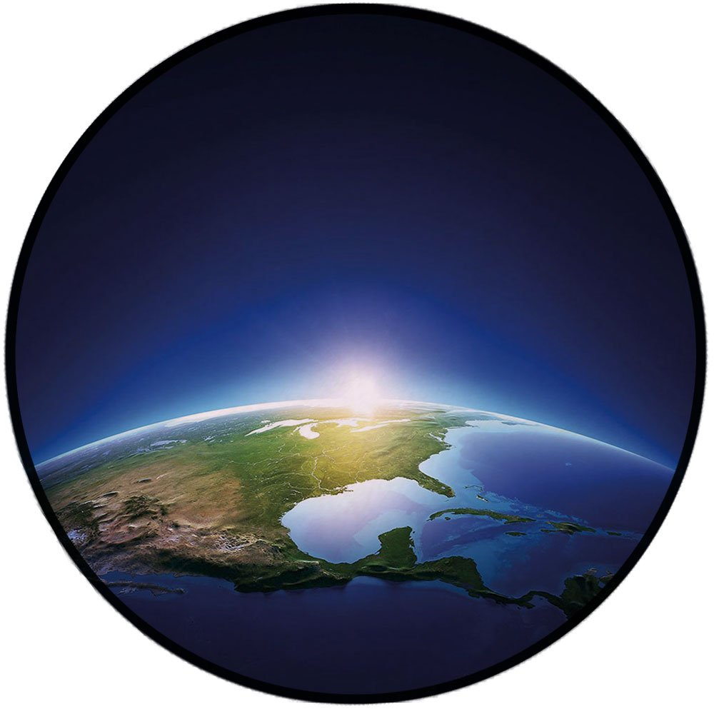 Printing Round Rug,Earth,Earth Sunrise over Cloudless North America Atmosphere Space Solar System Decorative Mat Non-Slip Soft Entrance Mat Door Floor Rug Area Rug For Chair Living Room,Blue Dark Blue