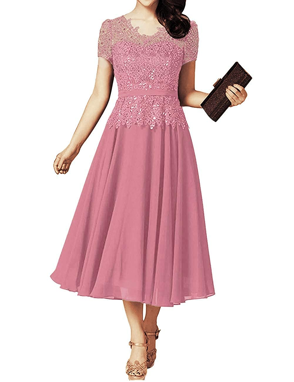 Dusty pink JINGDRESS Tea Length V Neck Mother of The Bride Dresses with Cap Sleeves A Line Pleated Evening Cocktail Gowns