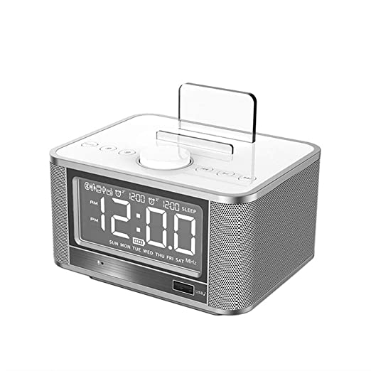 LZJZ Altavoz Bluetooth Radio Despertador LED Super Bass Dormitorio ...