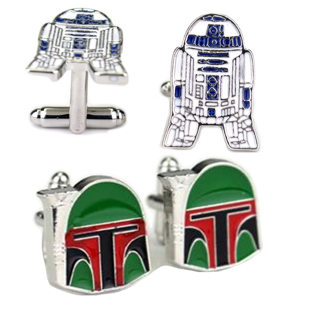 Fashion Jewelry ~ Star Wars R2D2 and Boba Fett Cufflinks Set of 2 Variety Gift Shop Online Store C05-74 r2dcboba fba