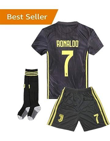 Yanfirstfc 18-19 Season Juventus  7 Ronaldo Kids Youth Away Color Black  Soccer Jersey 1f81587ef
