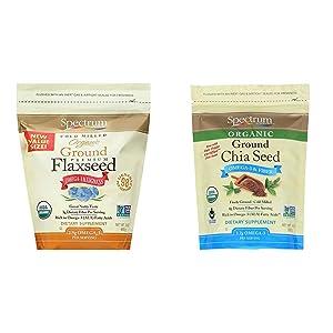 Spectrum Essentials Organic Ground Flaxseed, 24 Ounce (Pack of 1) & Essentials Organic Ground Chia Seeds, 10 Ounce