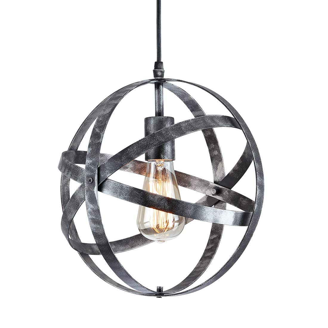 Industrial Vintage Metal Ceiling Pendant Light,Wrought Iron Light,Globe Metal Spherical Hanging Light Fixture for Kitchen Island Bedroom entryway Hallway Dining Room,Silver