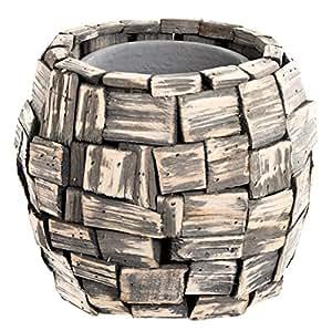Rústico–Maceta con trozos de madera y olla de cerámica rústico Flechtwaren–
