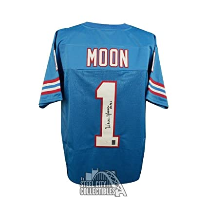 Image Unavailable. Image not available for. Color  Autographed Warren Moon  Jersey - HOF Custom Blue COA ... 7e95bb353