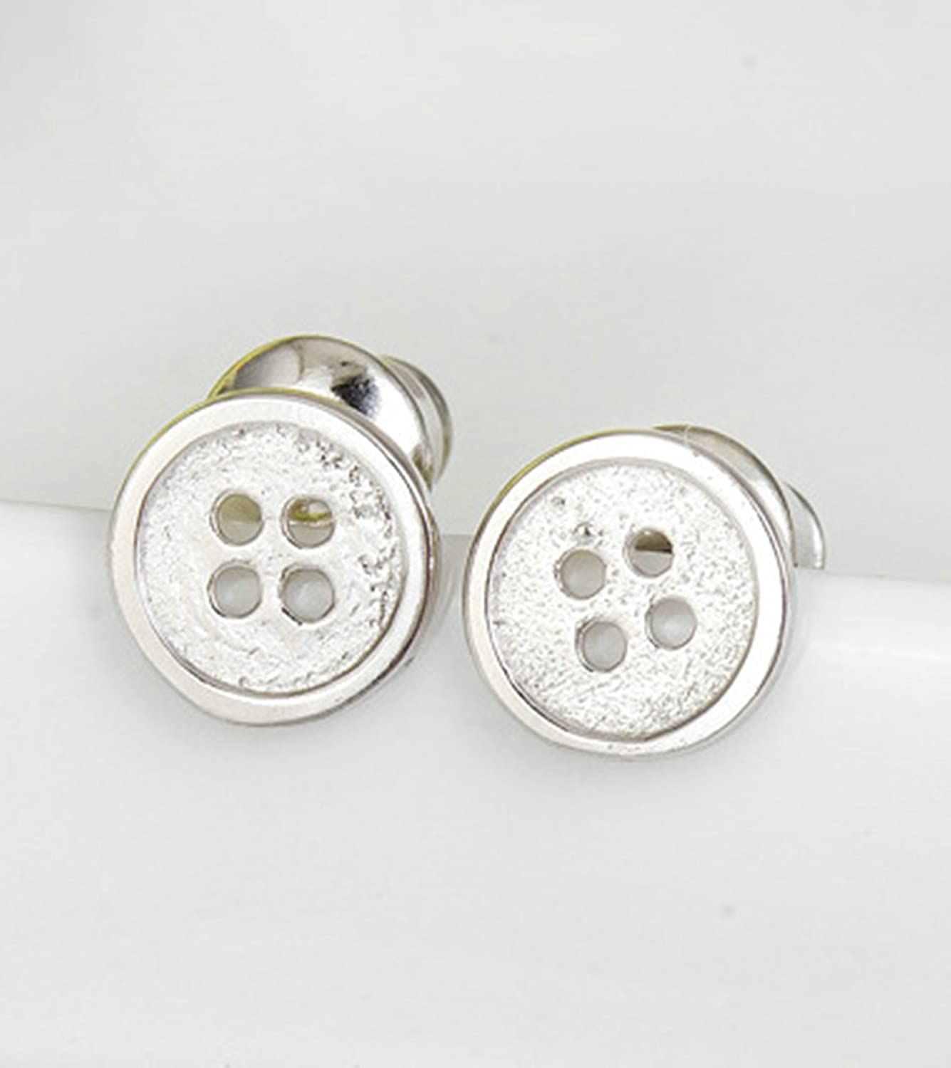 Gnzoe Jewelry Women White Gold Plated Stud Earrings Thickened Backfinding Button Tini Piercing Earrings 6.5x6.5MM