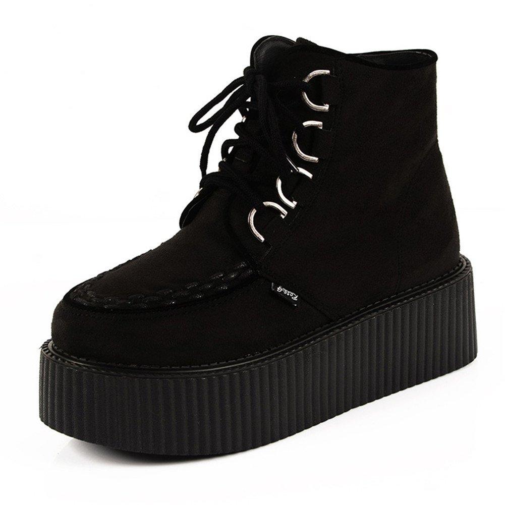 RoseG Women's High Top Suede Lace up Flat Platform Creepers Shoes Boots B00K551Y5U 6 B(M) US|Black