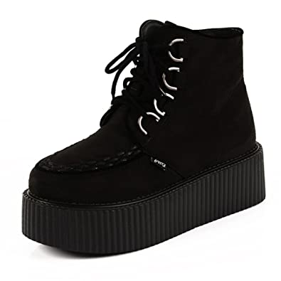 c6f79e0383e2 RoseG Women s High Top Suede Lace up Flat Platform Creepers Shoes Boots  Black Size5.5
