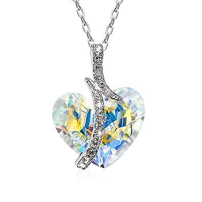 4cf0a12bcc75 CRYSLOVE Collar de Cristal en Forma de Corazon para Mujer