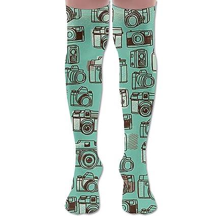 Amazon.com  Womens Camera Socks 3D Printing Long Knee High Socks Stockings   Home   Kitchen d85fab6f82