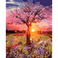 Diy Oil Painting Paint By Numbers Kit Drawing With Brushes Paint Suitable For All Skill Levels 40x50cm Unique Gift From Foeyesee Sunset Tree