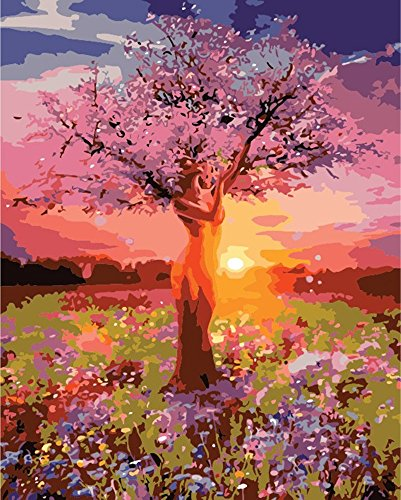 Diy Oil Painting, Paint by Numbers Kit, Drawing With Brushes Paint Suitable for All Skill Levels 40x50cm Unique Gift from FOEYESEE – Sunset Tree