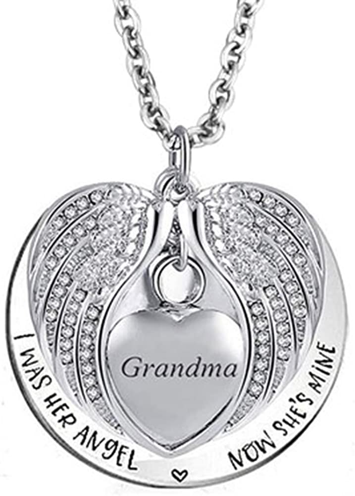 Jesse Ortega Angel Wing Urn Necklace for Ashes Cremation Jewelry Keepsake Memorial Pendant I was His Angel Now Hes Mine