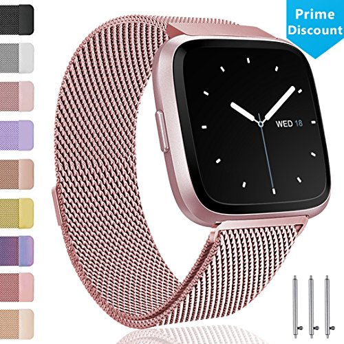 Ouwegaga for Fitbit Versa Bands for Women, for Fitbit Versa Wristbands Milanese Stainless Steel for Men Small Rose Gold