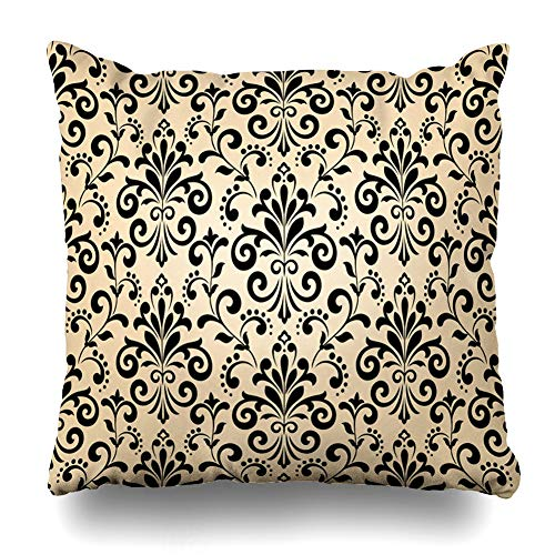 (Ahawoso Decorative Throw Pillow Cover Flower Gray Floral Pattern Baroque Damask Beige Leafs Black Graphic Modern Abstract Flourishes Dark Home Decor Zippered Square Size 18