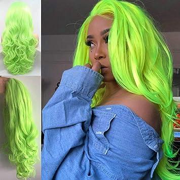 Peluca verde fluorescente para mujer, pelo largo de fibra sintética con encaje frontal, con línea de pelo natural, color verde claro y resistente al ...