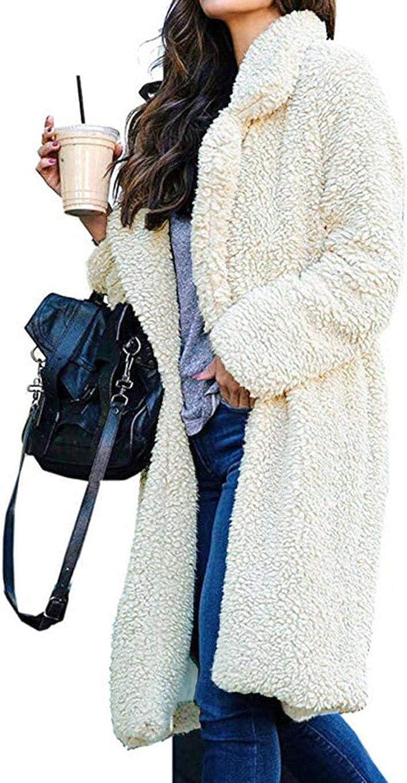 Women Open Front Fleece Coat with Pockets Fuzzy Long Sleeve Lapel Warm Jacket