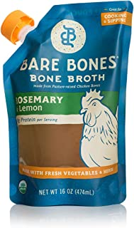 product image for Bare Bones Rosemary & Lemon Chicken Bone Broth for Cooking and Sipping, Pasture Raised, Organic, Protein and Collagen Rich, Paleo, Keto Friendly, 16 oz, Pack of 2