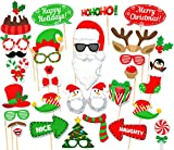 Merry Christmas Party Photo Booth Props Kit Santa Elk Snow Man Party Supplies
