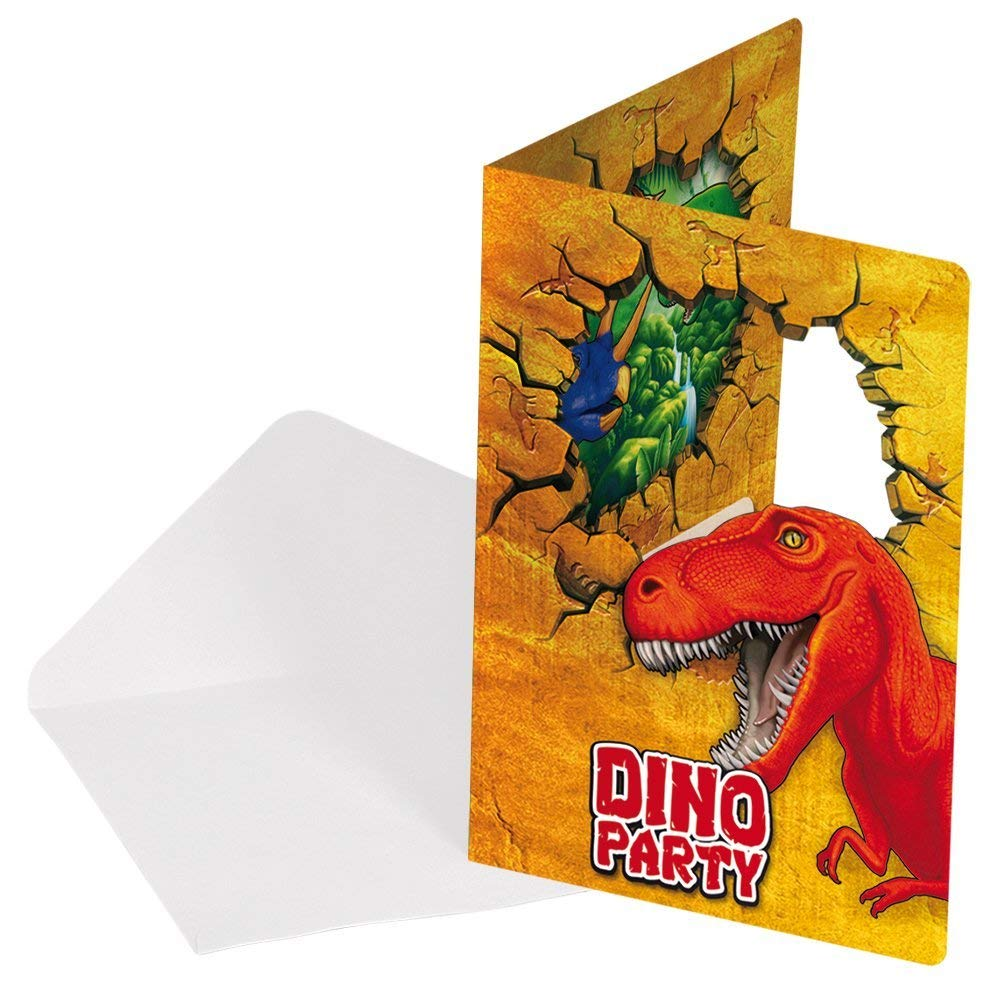 Juego De 12 Piezas De Invitaciones Cumpleaños De Dinosaurio T Rex 6 Tarjetas Y 6 Sobres