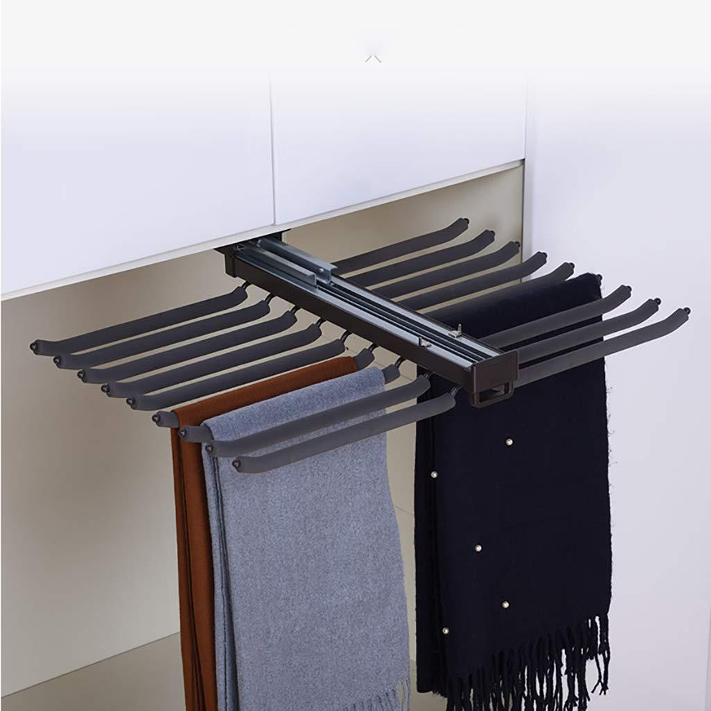 FKDEYIJIA Rack per Pantaloni Estraibili, fermacravatta con Binario di smorzamento, Rack per Guardaroba Estensibile (47 cm)