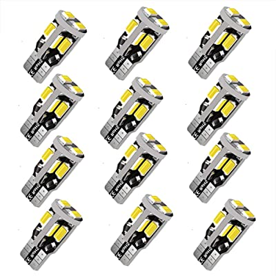 12V 12pcs T10 LED Bulb,194 LED Bulb, 168 LED Bulb, 2825 W5W LED Bulbs, Super Bright 6000K White 10SMD 5730 Chipset 250LM LED Bulb for Car Interior Dome Map Door Courtesy License Plate Lights: Automotive