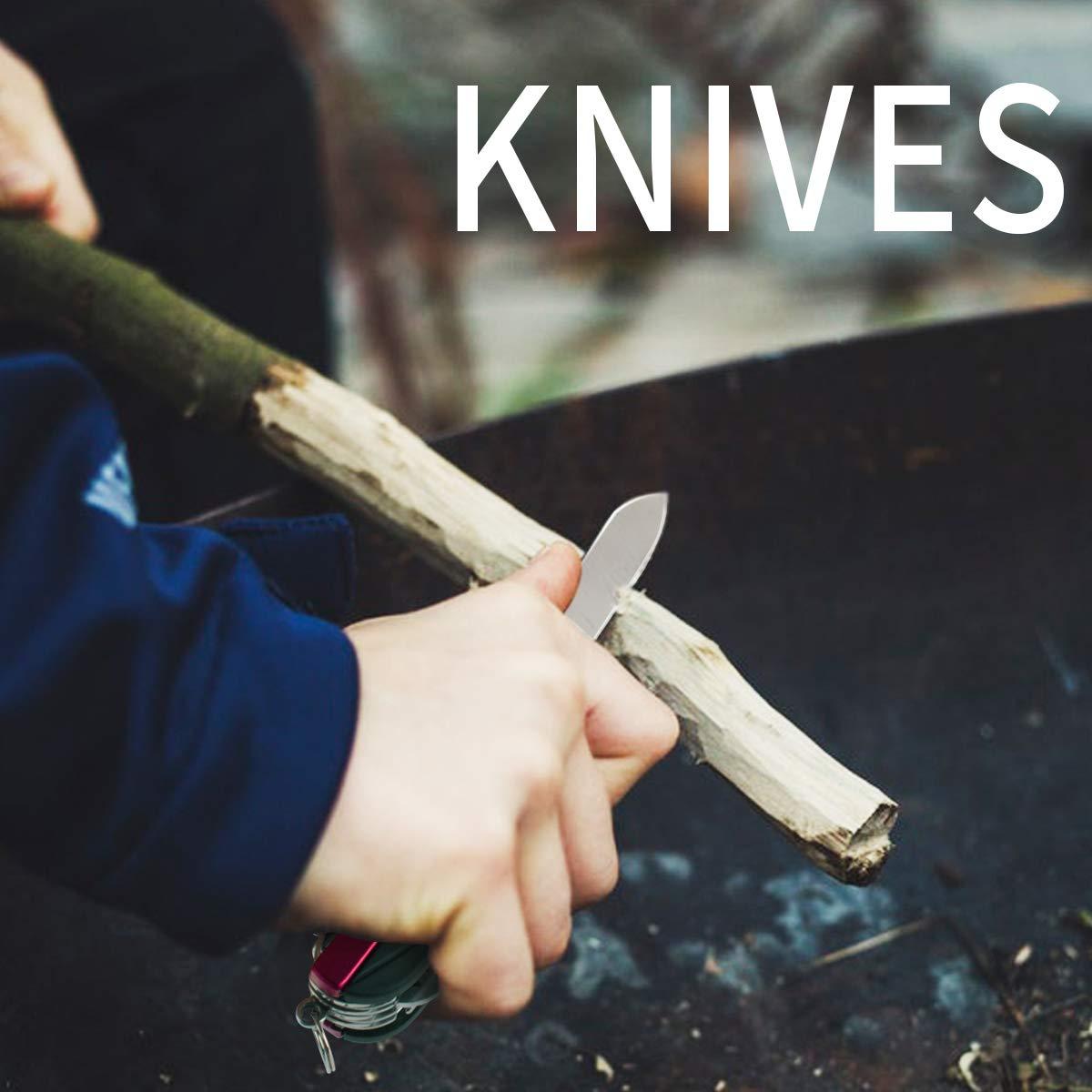Morpilot Couteau Suisse, Couteau Multifonction Morpilot 15 en 1 et Boutefeu 5 en 1, Swiss Couteau Flint avec Tournevis, Ciseaux, Scie, Boussole