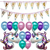 Unicorn Birthday Party Decorations Banner Decor Supplies Set Kit Favors   2PC Foil Balloon   12PC Helium Pastel Balloons w/Gold Ribbon   for Boy Girl 1st 2nd 3rd 10th 13th 20th   Sparkle Flag Glitter