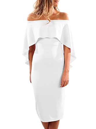 70a839e7b23 Anloli Women White Midi Dresses Off Shoulder Ruffles Batwing Sleeve Cape Party  Bodycon Dress Medium at Amazon Women's Clothing store: