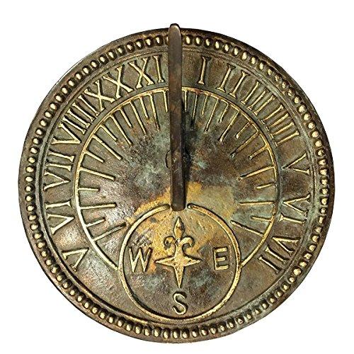 Rome Industries 2310 Roman Sundial, Solid Brass with Light Verdi Highlights, 8-Inch (Roman Sundial Pedestal)