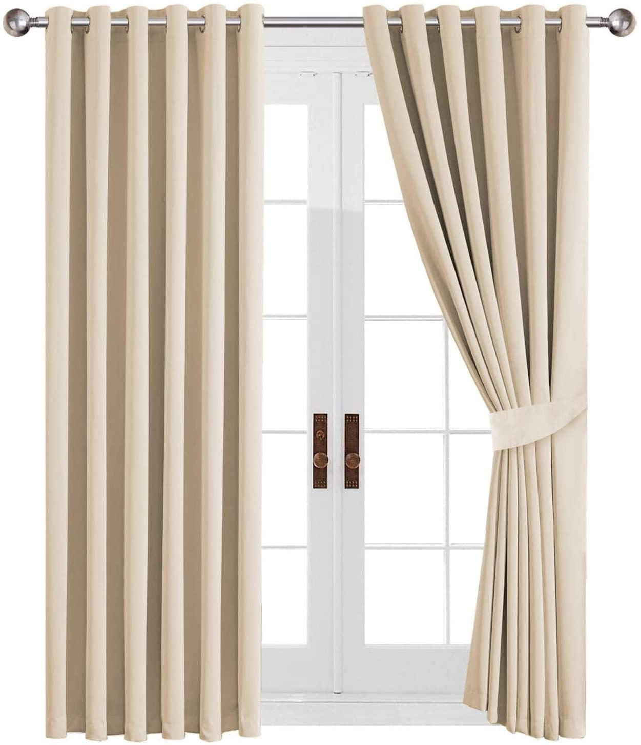66x72/'/' Thermal Blackout Curtains Ready Made Eyelet Ring Energy Saving+Tie Backs