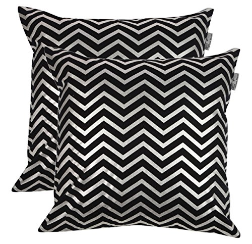 ACCENTHOME 100% Cotton Canvas Square Foil Printed Cotton Cushion Cover,Throw Pillow Case, Slipover Pillowslip for Home Sofa Couch Chair Back Seat,2pc Pack 18x18 in Chevron - Silver Foil Print