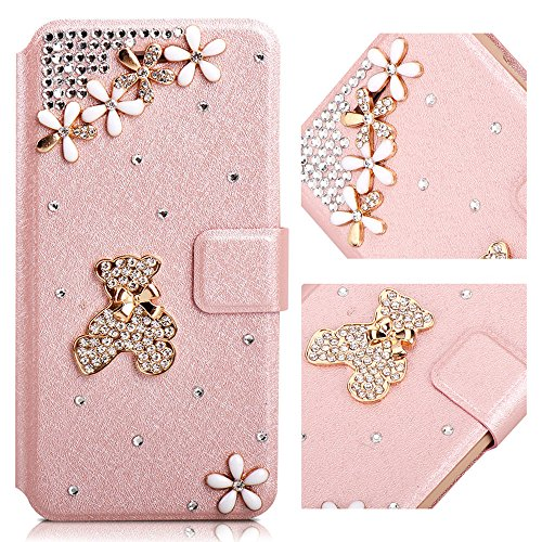 For Samsung Galaxy S8 Plus Case,L-FADNUT Bling Jewellery 3D Little Bear Crystal Rhinestone Flip PU Leather Case, Magnetic Buckle Closure with Stand Wallet Card Holder Cover S8 Plus Rose Gold