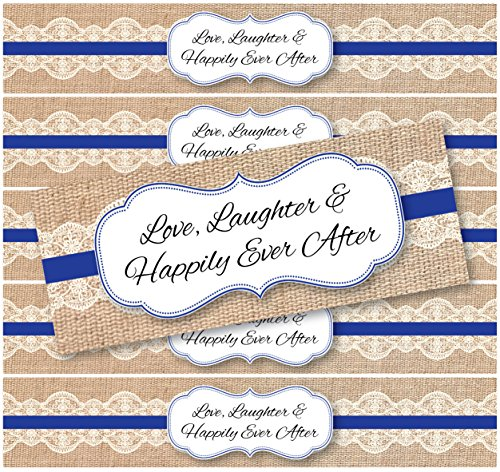 48 Burlap and Lace WATERPROOF Water Bottle Labels | Rustic, Shabby Chic, Vintage, Country Wedding | (Royal Blue)