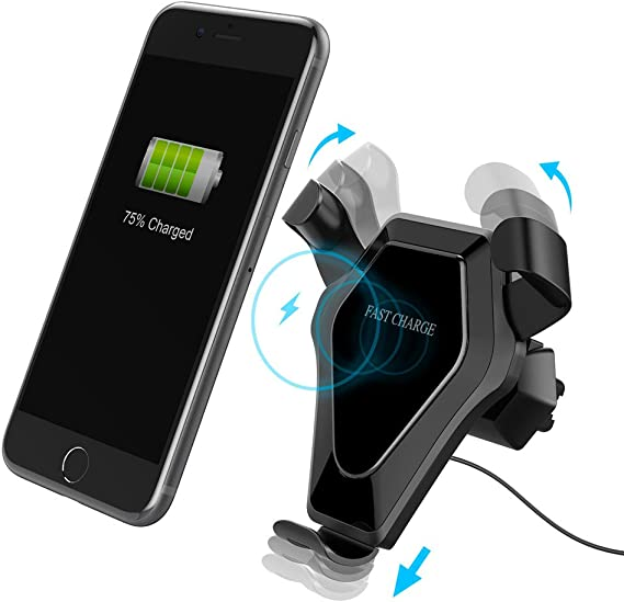For iPhone X 8 Samsung S8 S7 S6 Wireless Qi Fast Car Charger Charging Cup Holder