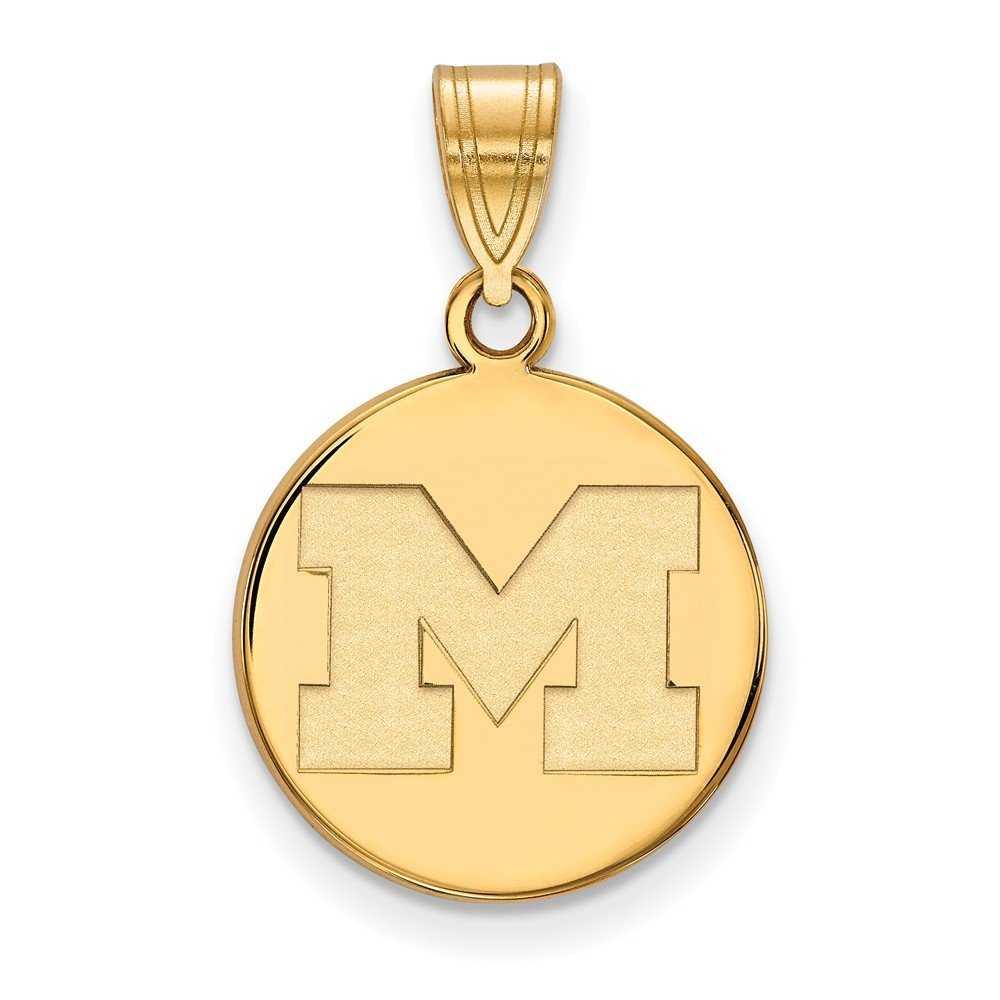 Jewel Tie 925 Sterling Silver with Gold-Toned University of Michigan Medium Disc Pendant