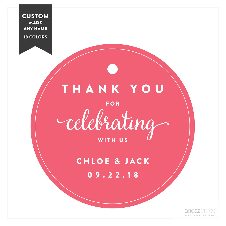 Amazon.com: Andaz Press Personalized Circle Gift Tags, Wedding ...