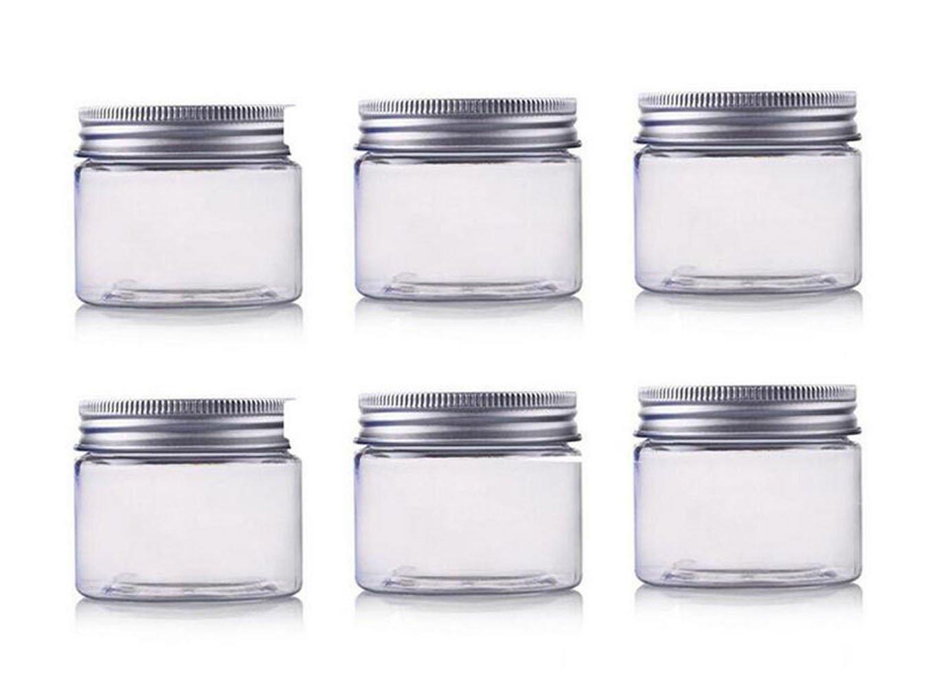 150ml / 5oz barattoli Pet contenitori cosmetici trucco casi supporti vuoto con tappo a vite in alluminio argentato, perfetti per le labbra ombretto polvere cosmetici e crema per il viso lozione echo-ove