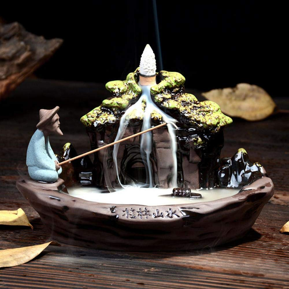 ''Guilin Landscape'' Backflow Incense Burner, Handmade Beautiful Scene Ceramic Backflow Incense Stick Cone Holder Home Decor with Free 10 pcs Incense Cones