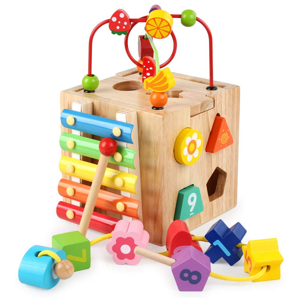 elecfan Baby Wooden Toys, Kids Multi-function Shape Sorter Block Colorful Funny Toy Large Around Beads Educational Toy Treasure Chest for Boys Girls Children Toddlers Gift Activity Center