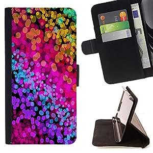 - Color Splash Neon Watercolors - - Prima caja de la PU billetera de cuero con ranuras para tarjetas, efectivo desmontable correa para l Funny HouseFOR Samsung ALPHA G850