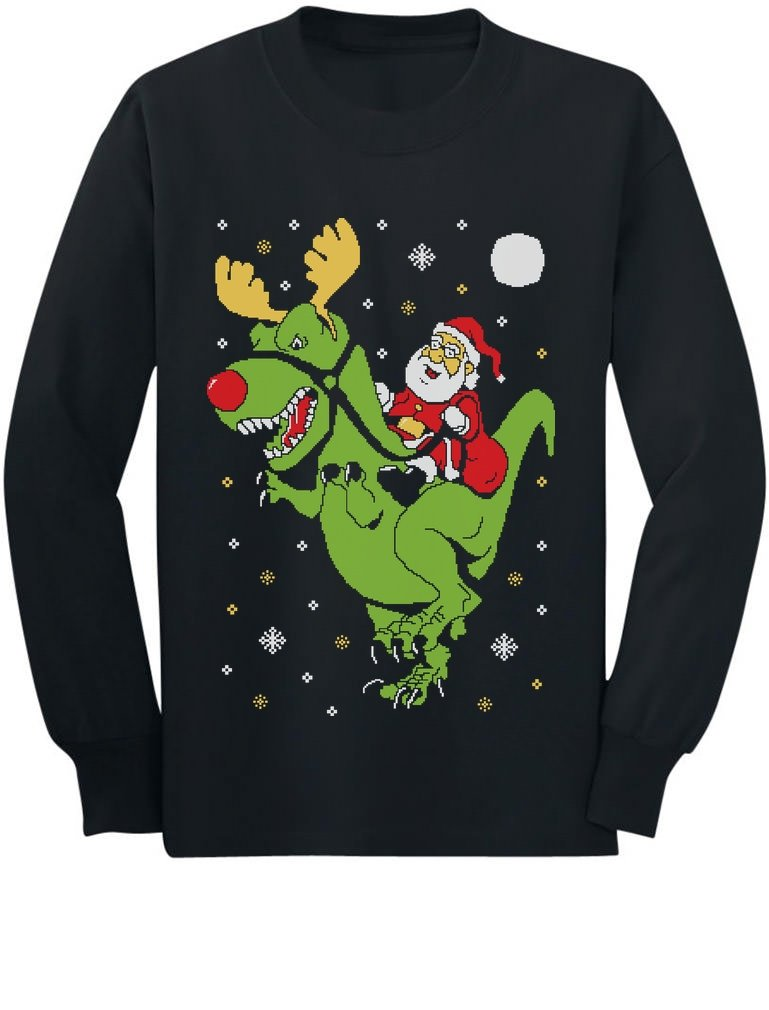 T-Rex Santa Ride Funny Ugly Christmas Sweater Youth Kids Long Sleeve T-Shirt GhPhrhtgCm