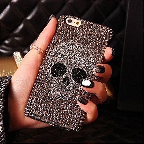 For iPhone 5/5s Case, MKLOT Handmade Diamond Skull Skeleton Hard Phone Case Cover Skin Gray