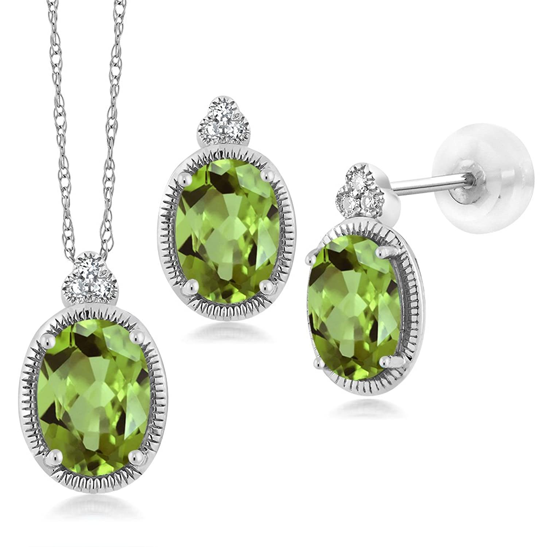 1.86 Ct Oval Green Peridot and Diamond 10K White Gold Pendant Earrings Set