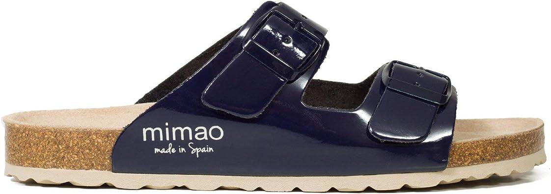 MiMaO Zapatos. Sandalias de Piel para Mujer Fabricadas en España. Sandalias Planas para Mujer con Correas. Cómodas Sandalias para Mujer, Color Azul, Talla 35 EU: Amazon.es: Zapatos y complementos