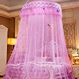 Mosquito Net Court Style Bed Canopy For Children Fly Insect Protection Indoor Decorative Height 280cm Top Diameter 1.2m Pink